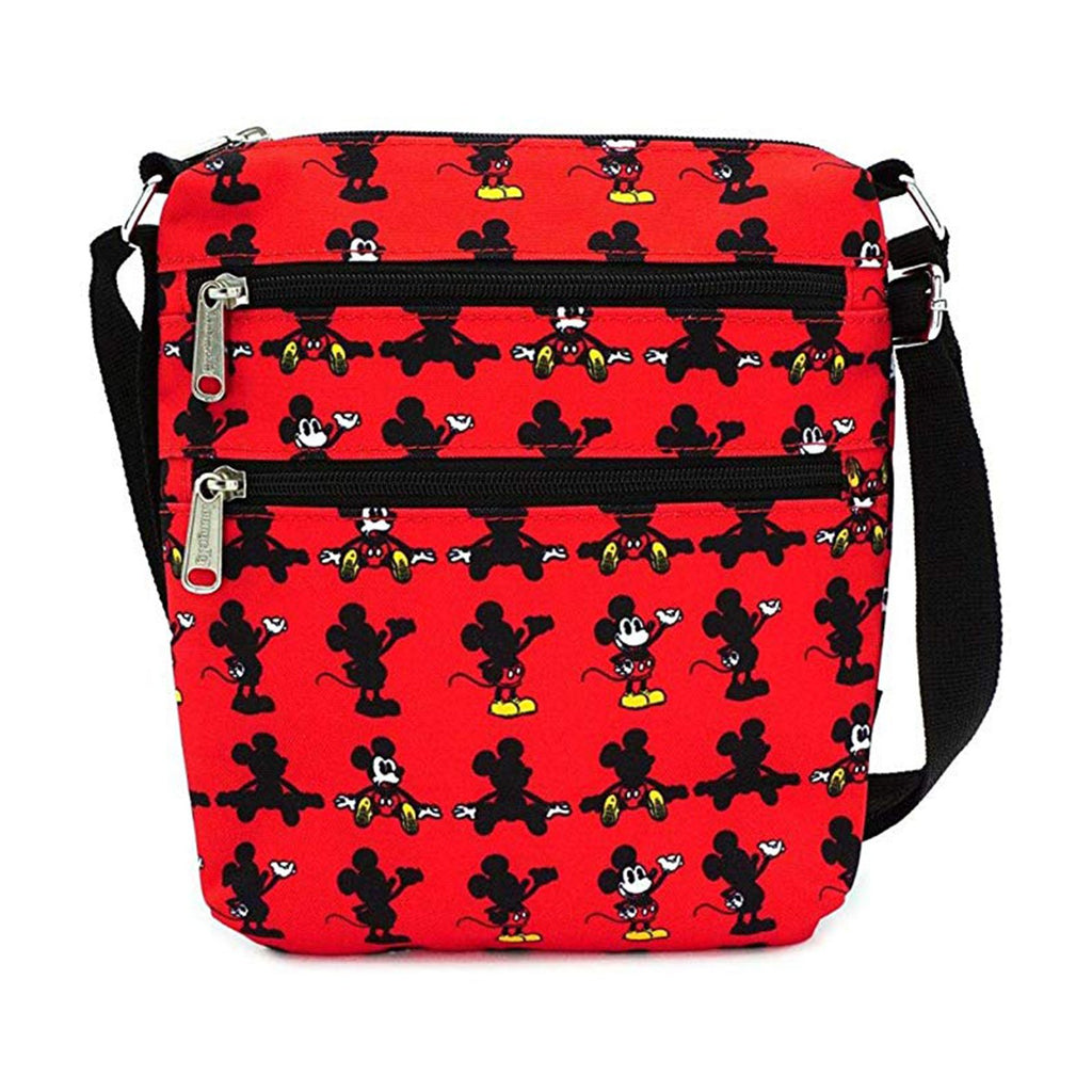 Loungefly Disney Mickey Mouse Parts All Over Print Nylon Passport Bag Purse