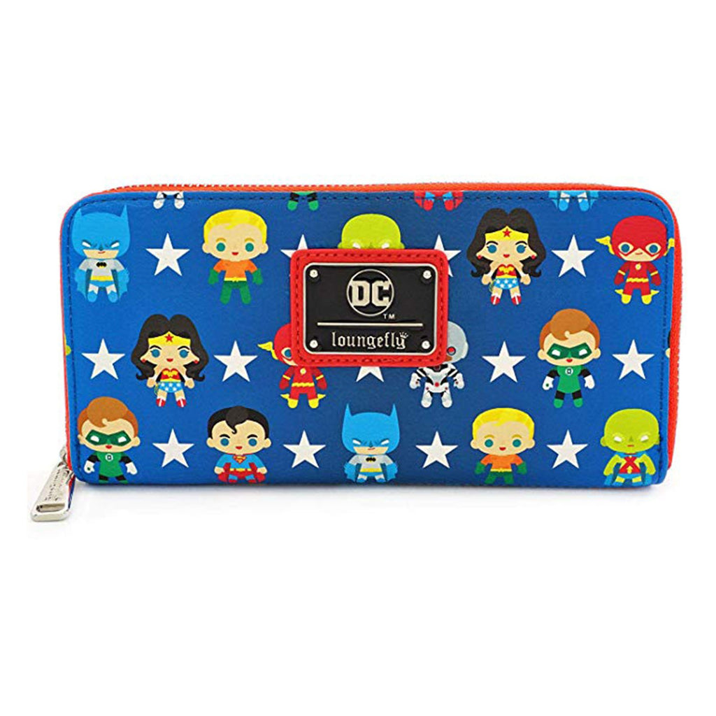Loungefly Justice League Chibi All Over Print Zip Around Wallet