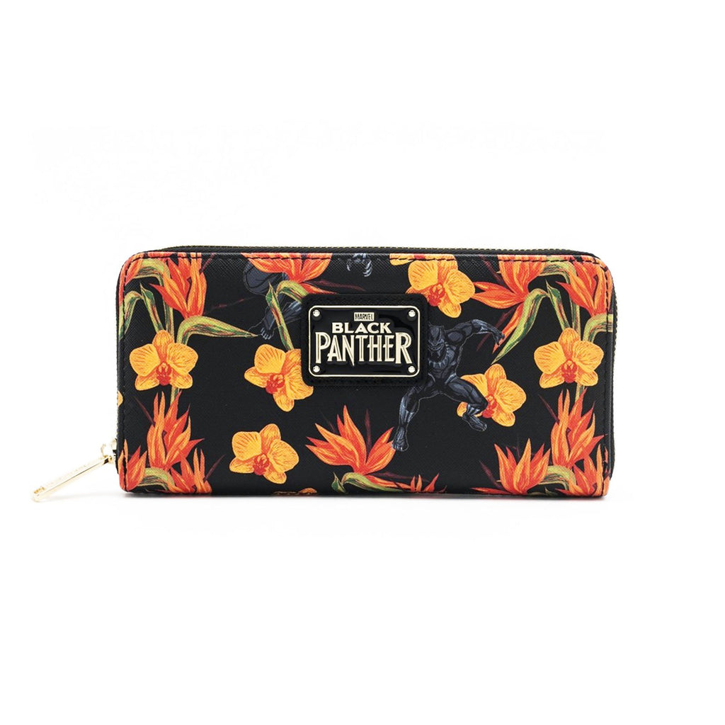 Loungefly Marvel Black Panther Floral Zip Around Wallet