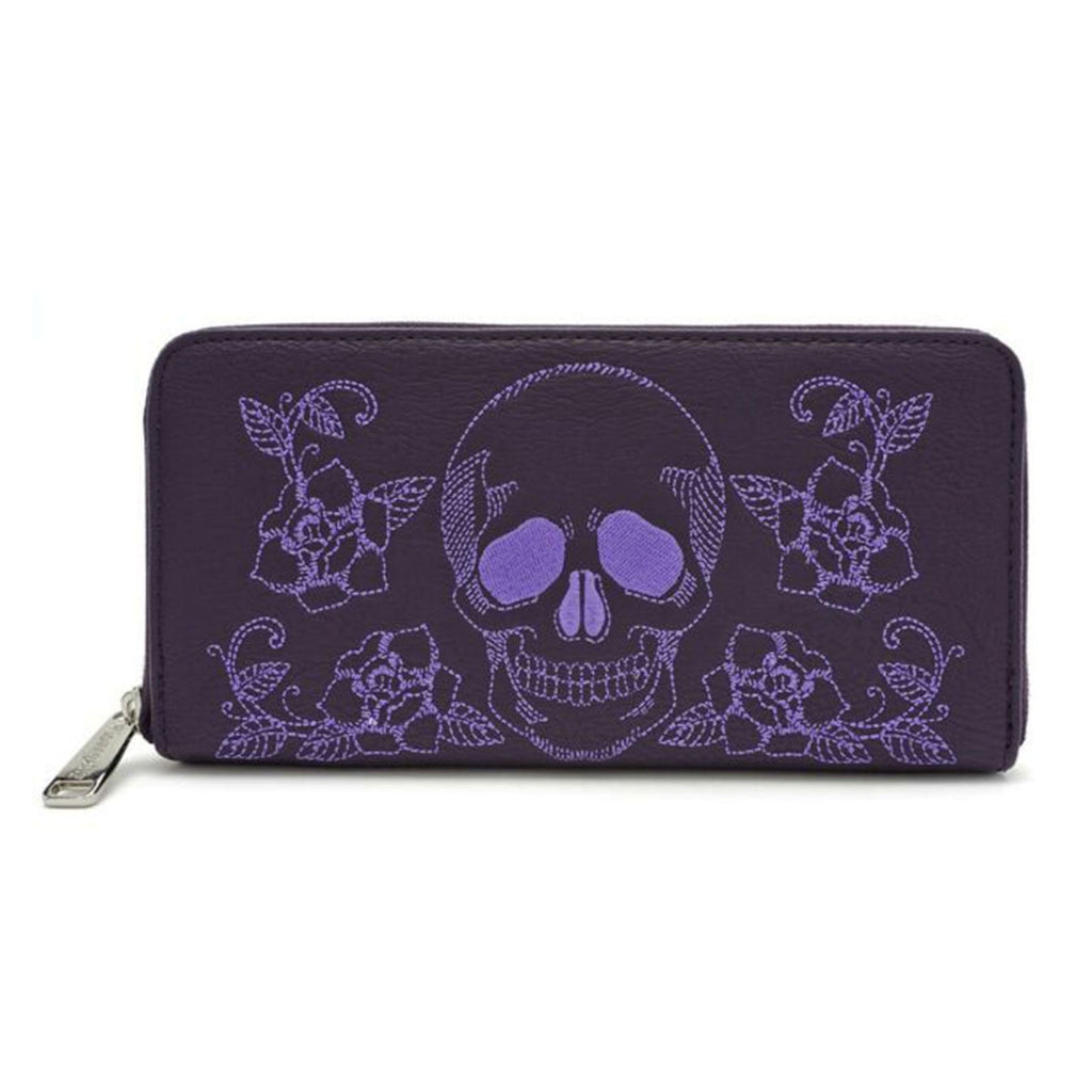 Loungefly Skull Roses Zip Around Wallet