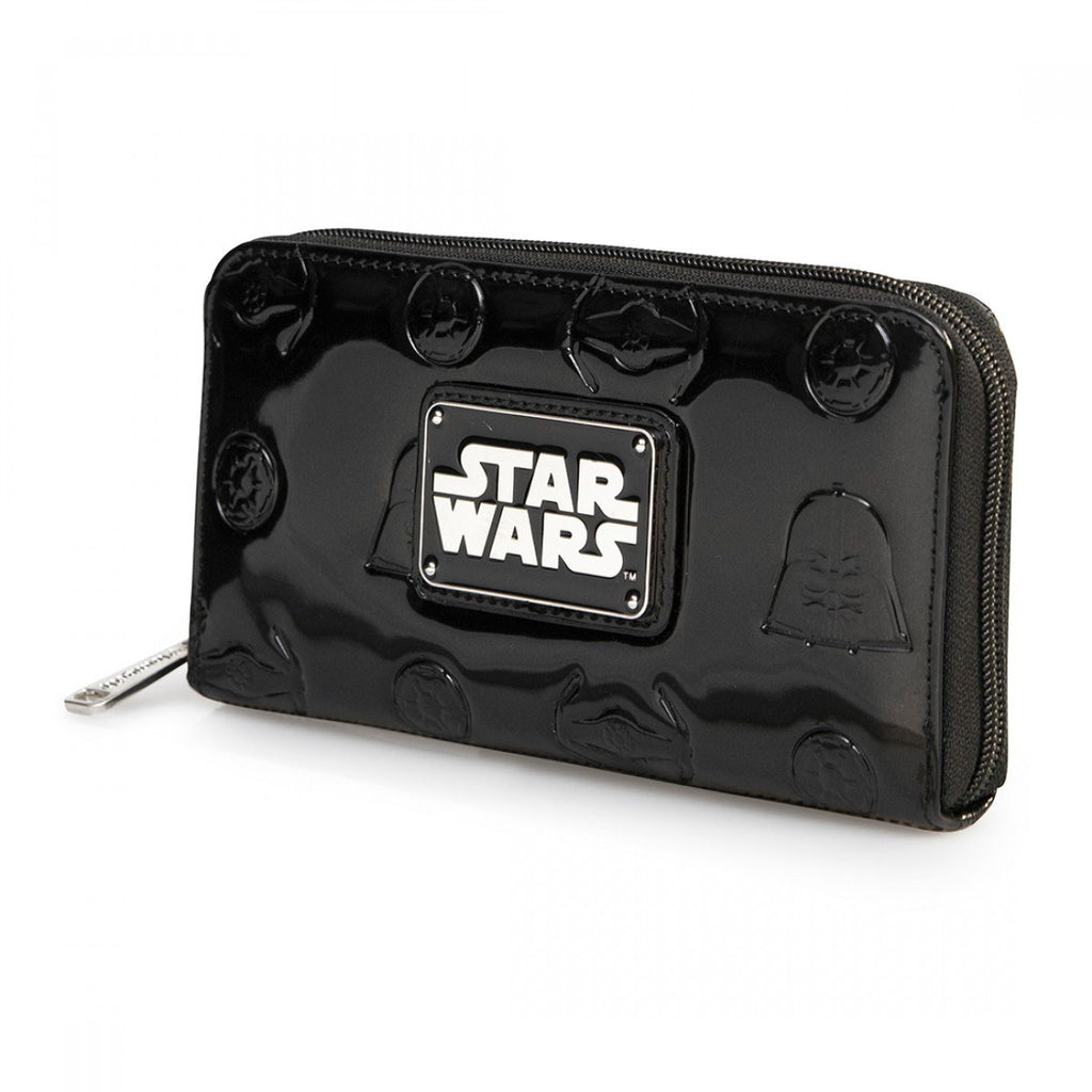 Star Wars Darth Vader Darkside Black Patent Zip Wallet - Radar Toys