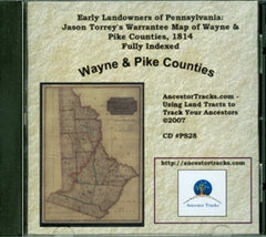 Jason Torrey's Warrantee Map of Wayne & Pike Counties, 1814