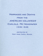 Marriages and Deaths from the American Volunteer Newspaper