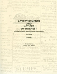 Advertisements and Notices of Interest fr Norristown, PA Newspapers, Vol. 5