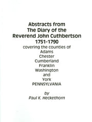 Abstracts from The Diary of the Rev. John Cuthbertson