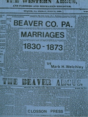 Beaver County, PA Marriages, 1830-1873
