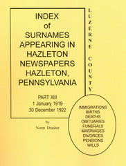 Index of Surnames Appearing in Hazleton Newspapers, Hazleton, PA, Part XIII