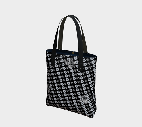 TOTE BAG Skull Daisy by MonkeyWrenched