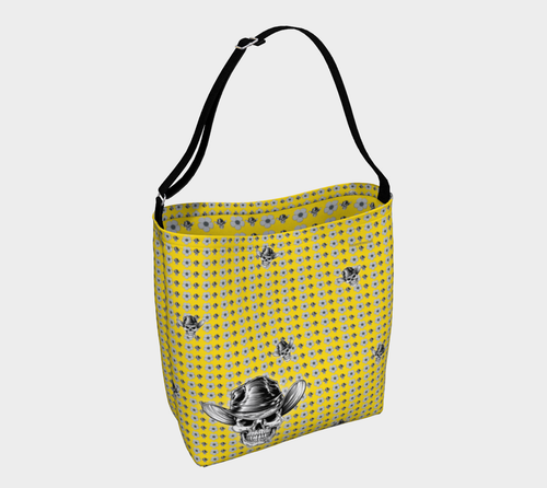 DAY TOTE Skull Daisy by MonkeyWrenched