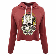 Cropped Hooded Jersey Shirt with Sugar Skull Imprint