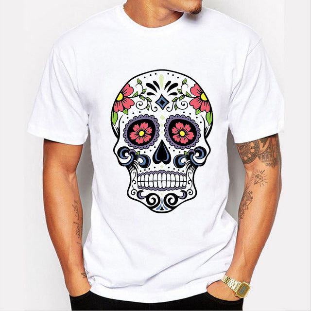 Latest 2016 fashion short sleeve floral sugar skull t-shirt men harajuku funny tshirts homme Hipster clothing O-neck cool tops
