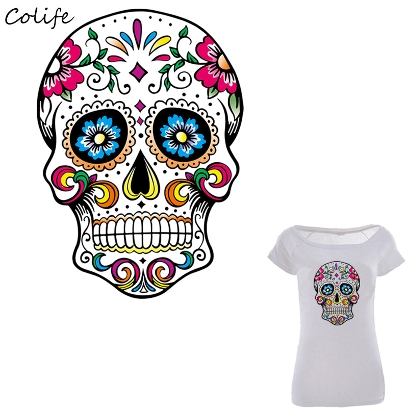 Mexican Sugar Skull Patches Print On T-Shirt Clothes Decoration DIY Accessory Washable New Design Patches For Clothing 26x19cm