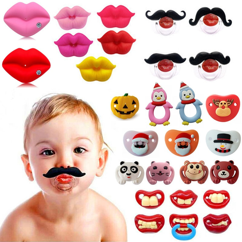 1pcs Pumpkin Pacifier Silicone Funny Nipple Dummy Baby Soother Joke Prank Toddler Orthodontic Nipples Teether Baby Christmas