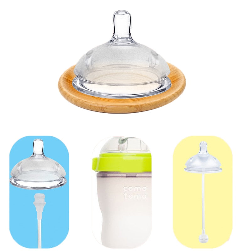 Baby Wide Neck Pink and Blue Soft Silicone Feeding Bottle
