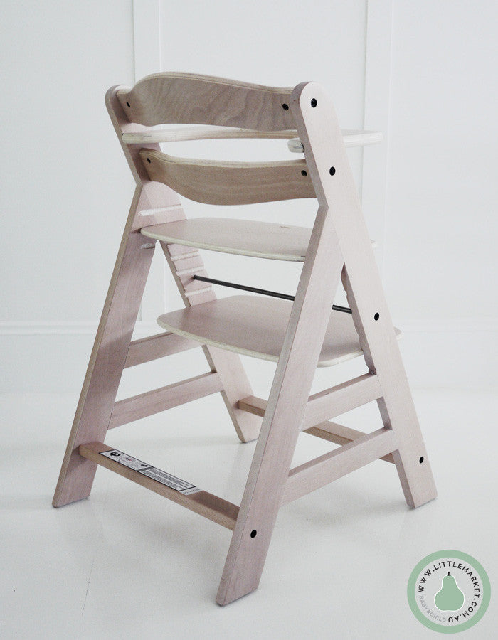 hauck alpha wooden highchair white washed finish the little market. Black Bedroom Furniture Sets. Home Design Ideas