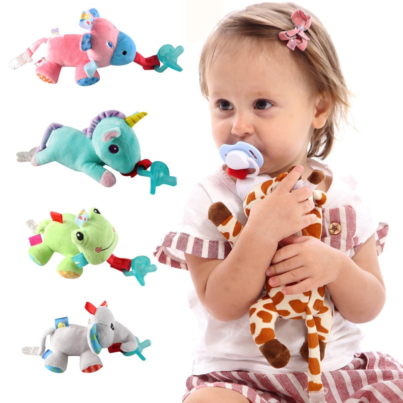 Plush Animal Toys Pacifier Holder (Pacifier not included)