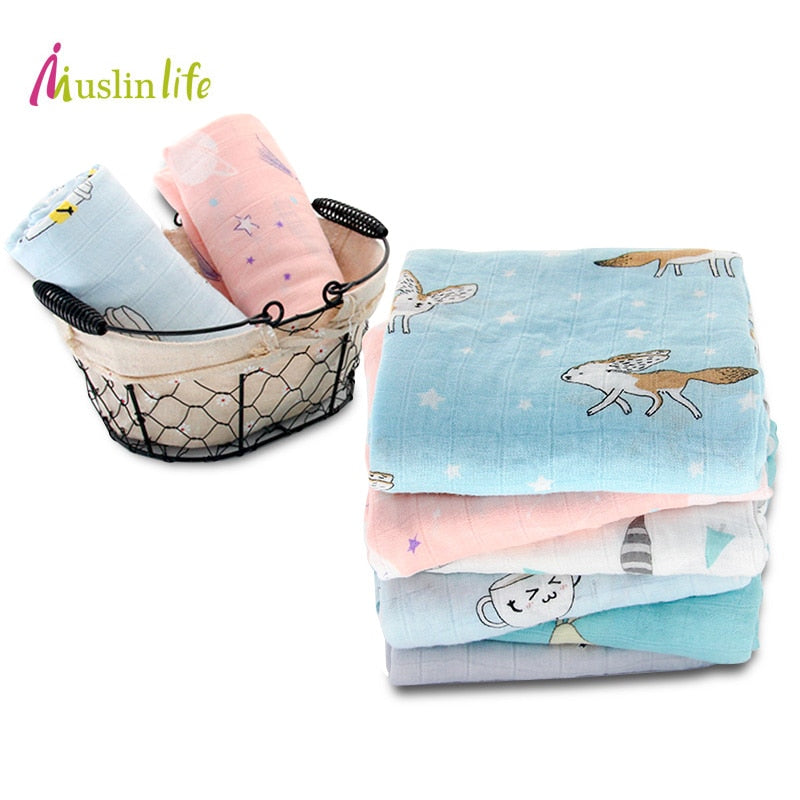 100% Cute Cartoon Bamboo Fiber Baby Blanket