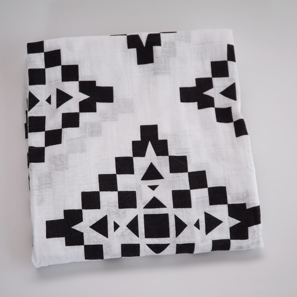 Muslin Life 100% Organic Cotton Black and White Muslin Wraps