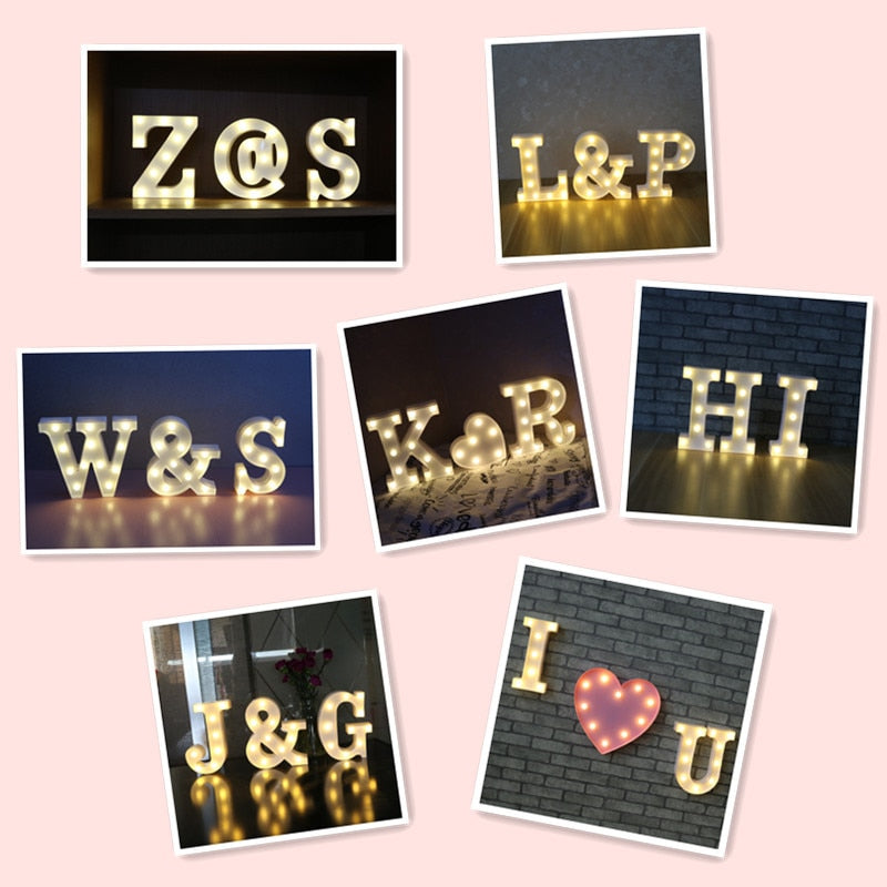 Nordic Style Wooden Kids Night Light Letter LED Light Up Night LED Lamp Light Wall Decoration For Children Bedroom Wedding Decor