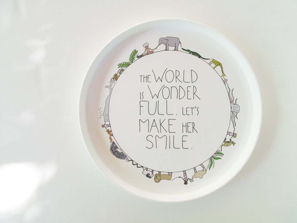Smiling Planet Wonderful World Plate