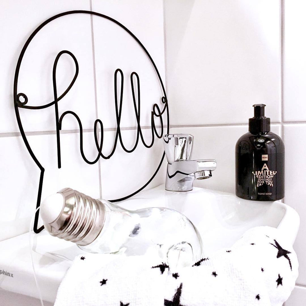 Nordic Style Iron Hello Sign