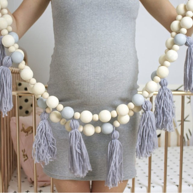 Nordic Style Home Wooden Beads Tassel Ornaments