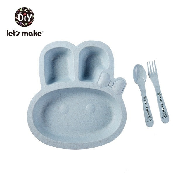 Rabbit and Airplane Bowl and Cutlery set