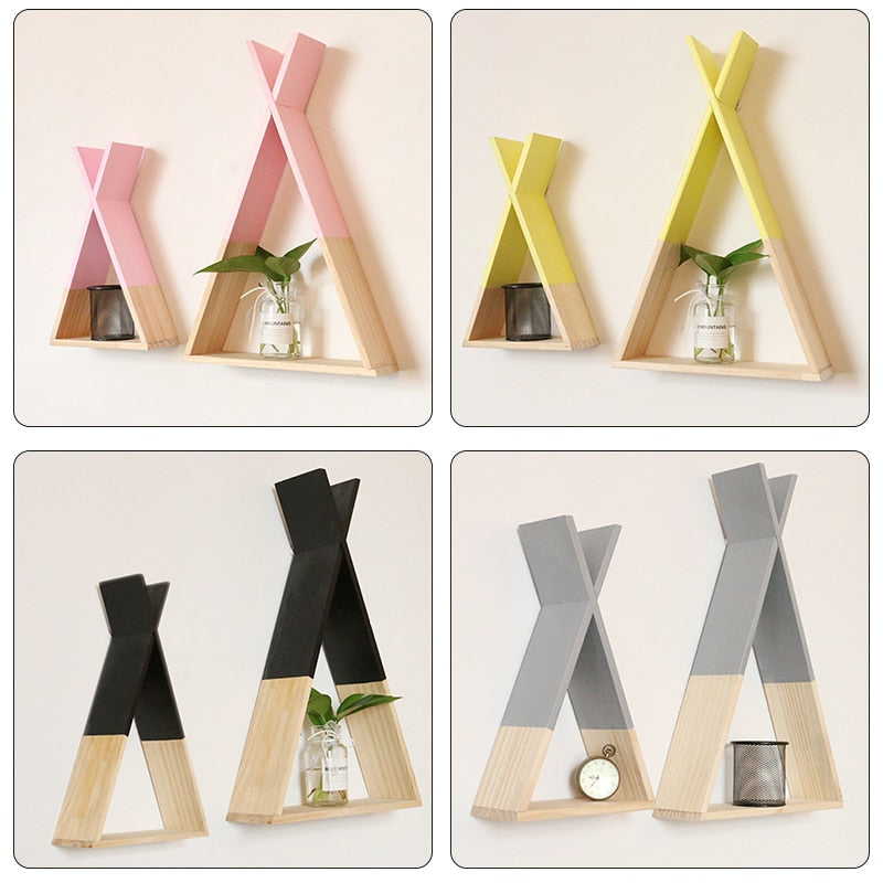 Nordic Nursery Wooden X Hanging Storage Rack