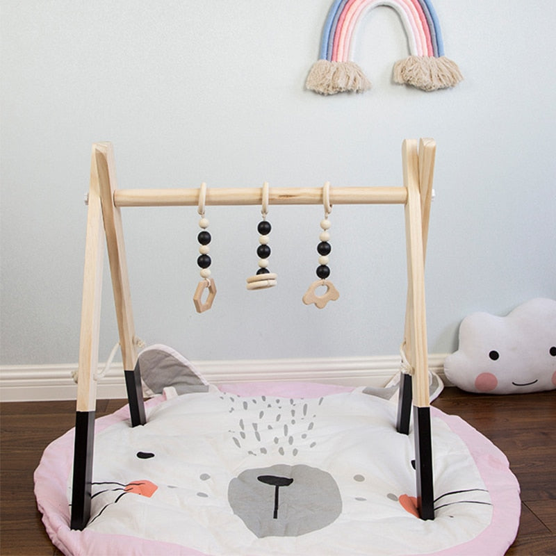 Nordic Style Baby Gym Play Wood Gym And 3PCS Toys