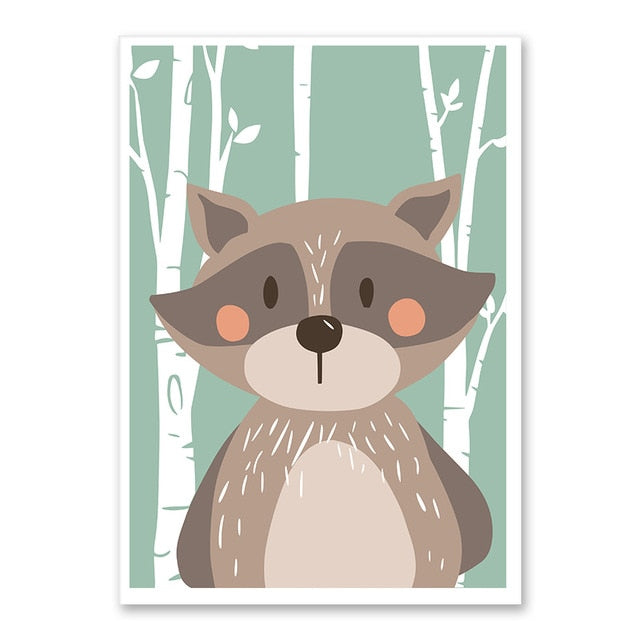 Wolf Forest Cute Animal Wall Art