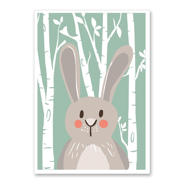 Rabbit Forest Cute Animal Wall Art