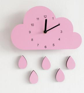 Wooden Cloud Clock Wall Hanging