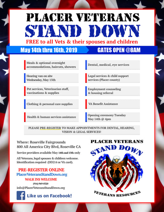 Placer Veterans Stand Down Event 5/14/19-5/15/19
