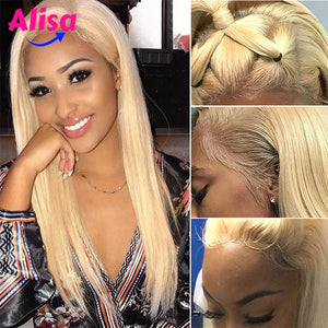 Straight 613 Blonde Human Hair Lace Front Wigs 180% Density
