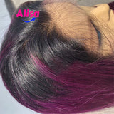 Purple Color Straight Hair Full Lace Wigs