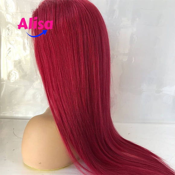 Red Color Straight Wigs  Lace Frontal Wigs Fashion hair