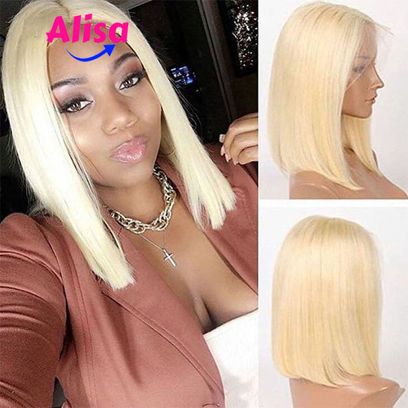 Full Lace Wigs 613 Blonde Straight Short Bob Wigs Brazilian Virgin Hair