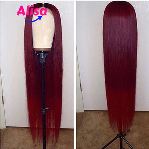 Red Color Wigs Straight Full Lace Wigs Bleached Knots