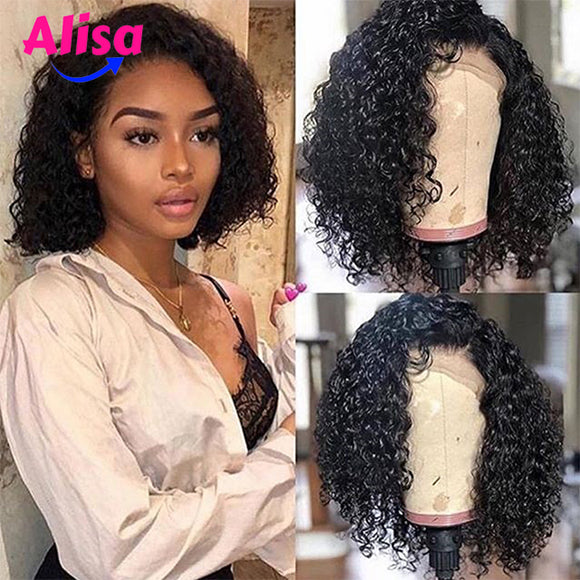 13*6 Lace Frontal Wigs Short Bob Curly Wave Wigs