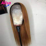 130% 150% Density Straight hair 1B/30 Color Short Bob Lace Frontal  Wigs