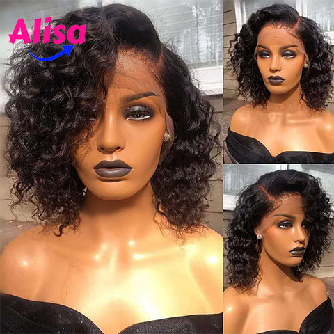 Short BOb Curly Hair Wigs  13*6 Lace Frontal Wigs Peruvian Hair