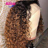 Ombre 1b/27 Dark Roots Lace Frontal Curly Human Hair Wigs