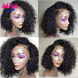 Short Bob Curly Wave Wigs 360 Lace Wigs Bleached Knots