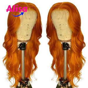 Orange Color Body Wave 13x3 Lace Frontal Wigs