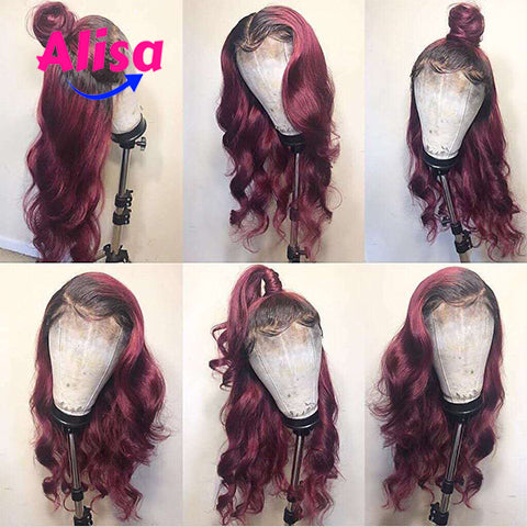 Ombre 1b/99J Color Body Wave Hair Full Lace Wigs