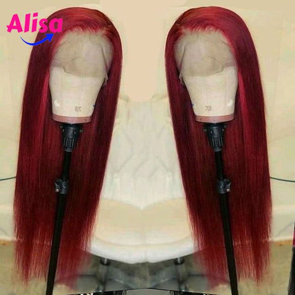 Red Straight Lace Front Human Hair Wig 13X4 Deep Part 150% Density