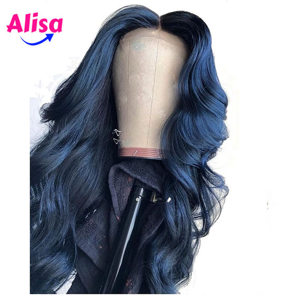 13X4 Deep Part Blue Colored Lace Front Human Hair Wigs Body Wave
