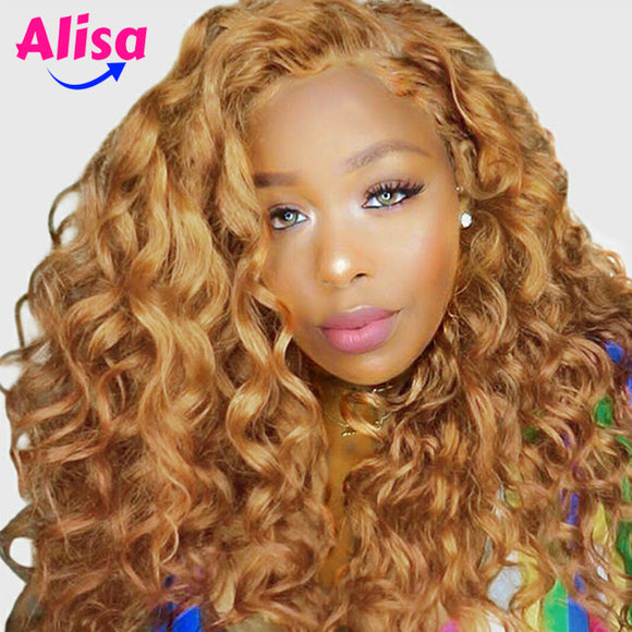 Blonde Lace Front Wigs  250% Density Loose Wave Wig 27# Brazilian Hair Orange Honey