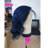 13X4 Deep Part Blue Colored Lace Front Human Hair Wigs