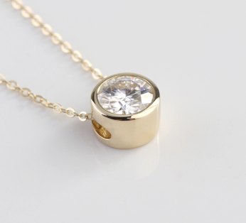 1ct Round Cut Bezel Set Pendant Moissanite with Chain - Vintagetears Jewellery Design